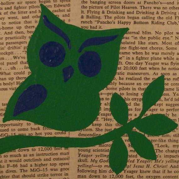 Painting Green and Blue Owl on Vintage Book pages - 6 inch Square