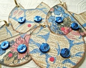 Siamese Cat Tags sepia brown blue floral button eyes whimsical