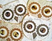 Owl  Gift Tags, cream taupe brown with button eyes
