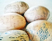 Old World Decoupage Eggs, Easter Eggs, Neutral Easter Eggs, cream black manuscript music sheet text
