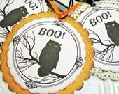 Halloween Tags, Owl Tags, Boo Owl Tags, Black and Orange Tags