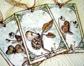 Antique Butterfly Tags, Butterfly Tags, brown and aqua tags, sepia brown cream aqua