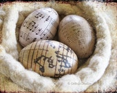 Old World Decoupage Easter Eggs music sheet notes cream sepia brown taupe