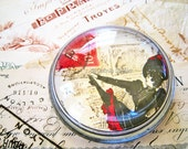 Glass Paperweight round dome french postcard cancan dancer victorian black red cream