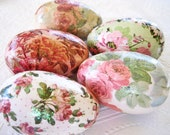Rose Easter Eggs glitter decoupage floral cottage style pink sage green cream