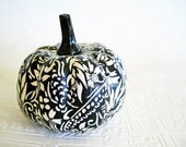 Pumpkin Ornament, Squash Ornament, Halloween Ornament, decoupage ornament, black and white, floral fall autumn thanksgiving - CatnipStudioToo