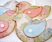 Bird Tags, Baby Shower Bird Tags, baby blue bird tags, pastel pink bird tags, paper bird tags, button wing rhinestone eyes