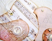 Bird Tags, Cottage Style Bird Tags, Cream Bird Tags, reversible lace winged coral tan elegant rhinestone eyes
