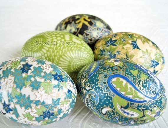 Teal Origami Decoupage Eggs