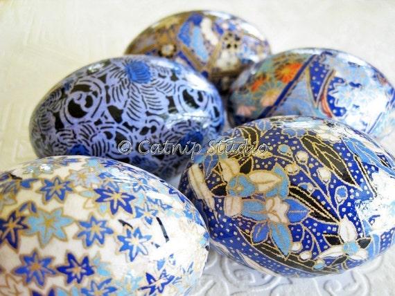 Bright Blue Easter Eggs, Origami Eggs, Decoupage Eggs, blue and white Easter eggs