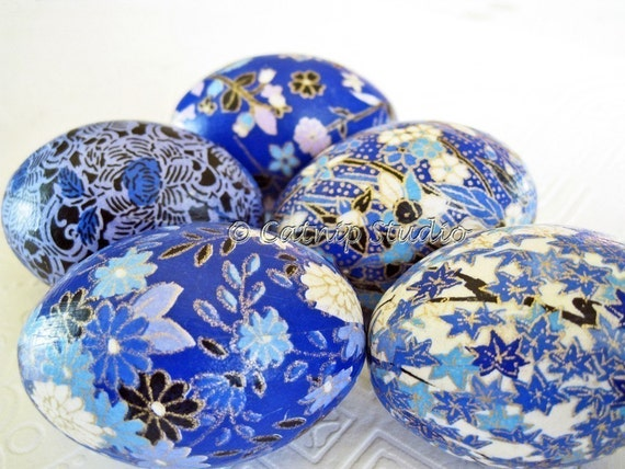 Bright Blue Origami Decoupage Easter Eggs gold white black home decor floral maple leaves