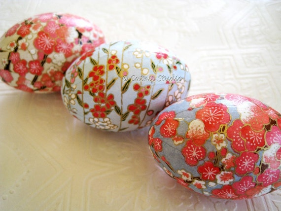 Pink and Blue Cherry Blossom Origami Decoupage Easter Eggs