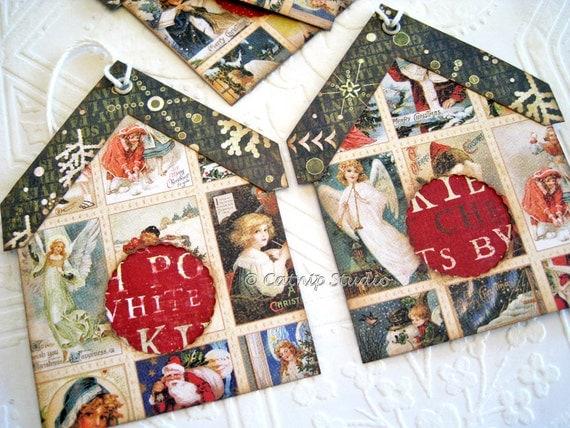 Christmas Tags, Christmas Gift Tags, Christmas Birdhouse Tags, Bird house tags, red and green tags, angels santa snowflakes