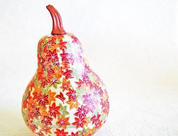 Squash Ornament Gourd Ornament decoupage origami maple leaves red cream gold orange fall autumn thanksgiving
