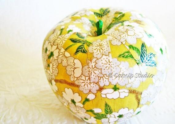 Yellow Apple Ornament, decoupage apple ornament, origami apple ornament, cherry blossoms floral