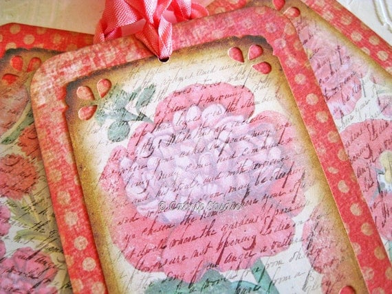 Peony Tags, Botanical Tags, cottage garden tags, poppy red pink and cream, digital collage art tags