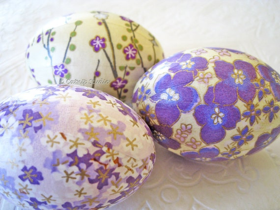 Easter Eggs, Lavender Easter Eggs, Purple Easter Eggs, origami eggs, decoupage eggs, floral cream yellow cherry blossom
