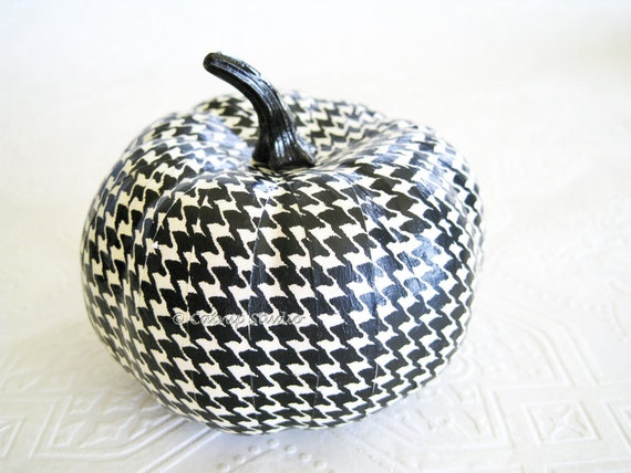 Pumpkin Ornament, Squash Ornament, Halloween Ornament, decoupage, black and white, houndstooth, fall, autumn, thanksgiving
