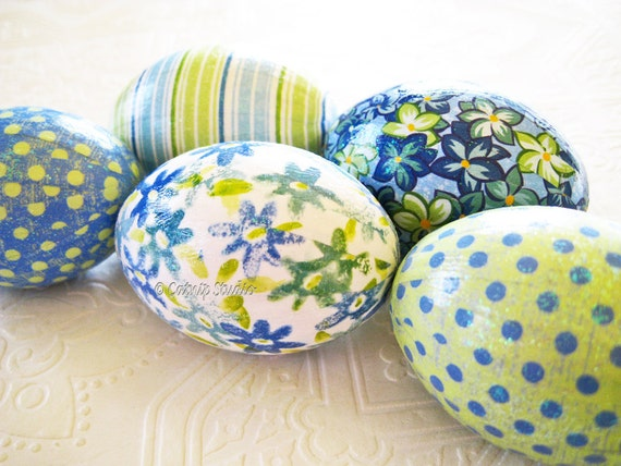 Easter Eggs Blue and Green Easter Eggs decoupage glitter floral stripe polka dots