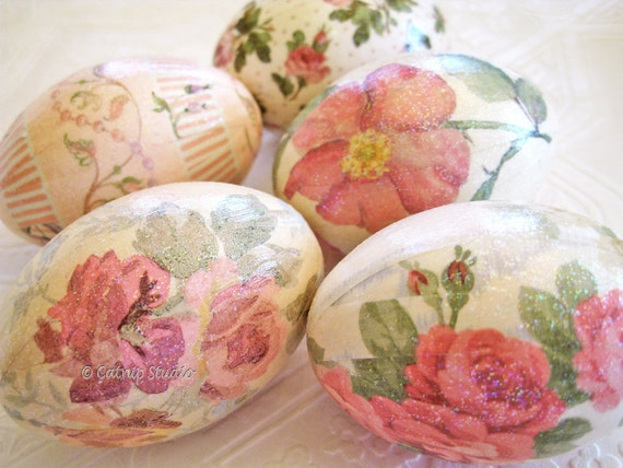 Rose Easter Eggs, Pink Easter Eggs, Pink and Cream Easter Eggs, decoupage floral cottage style pink sage green cream