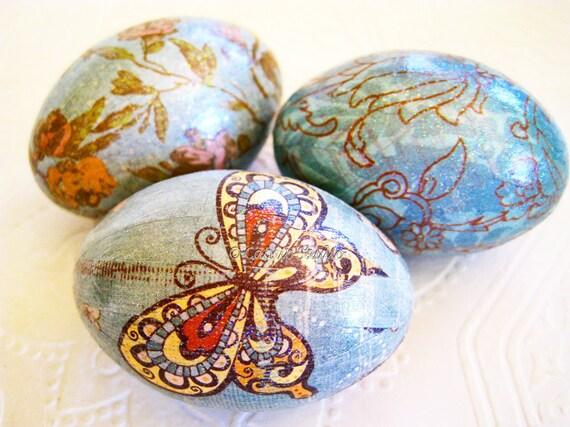 Easter Eggs, Blue Easter Eggs, Decoupage Easter Eggs, Butterfly Easter Eggs, glitter teal blue caramel brown