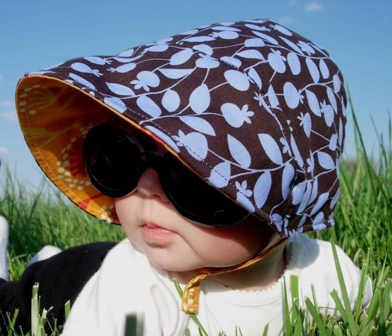 UB2  VINES and GOLDENROD the very first, original, bold and energetic sun hat by The Urban Baby Bonnet -- size large