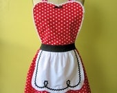 I LOVE LUCY ...... RETRO fifties RED POLKA DOT APRON with black ric rac details make a sexy hostess or Valentines day gift and is vintage 50s inspired womens full apron