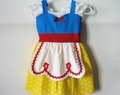 SNOW WHITE dress  APRON dress for toddlers baby and girls fun for tea party or birthday handmade  costume