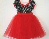 TUTU PARTY  DRESS in retro black and white polka dot Red tulle skirt baby toddler birthday party dress portrait flower girl special occasion