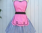 retro pink apron 50s DINER WAITRESS ..ice cream parlor fifties sexy hostess bridal shower gift vintage inspired flirty full