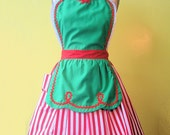 CHRISTMAS apron  womens full apron in green with red stripes Sants Helper or Elf apron