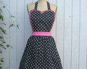 Womens Retro full APRON  Black polka dot and pink trim vintage style flirty aprons