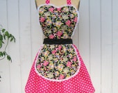 apron in Retro Pink  BETSEY FLORAL with  polka dots womens full APRON makes sexy hostess and is vintage inspired