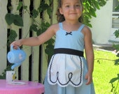 ALICE In WONDERLAND dress Apron for toddlers and girls fun for tea party handmade alice in wonderland  costume