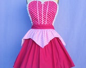 AURORA Sleeping Beauty  inspired retro APRON womens full costume aprons in pretty pink polka dots
