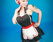 pin up apron  LUCY style  ... Retro apron Black Polka Dots  with fifties details is a sexy hostess gift and is vintage