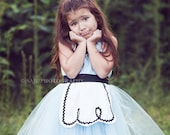 ALICE IN WONDERLAND dress retro  Apron tutu dress for girls fun for special occasion or tea party handmade costume