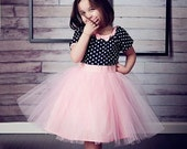 TUTU  DRESS in black polka dot Pink tulle skirt for baby toddler girl .. holiday birthday party  portrait flower special occasion
