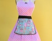 Retro apron 50s Housewife with Vintage Kitchen print with pink Polka dots flirty womens full aprons
