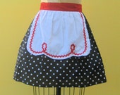 retro apron LUCY ... RETRO half apron in  black polka dots fifties details sexy hostess gift  vintage inspired flirty womens