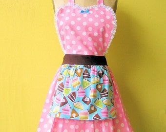 retro apron BAKERY SHOP  CAKES and Pies  retro pink polka dot full apron make a flirty hostess or bridal shower gift  women