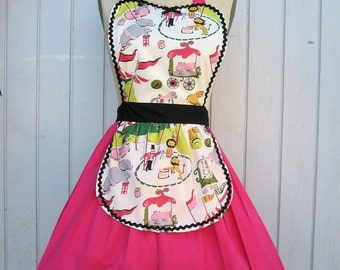 Retro APRON    CIRCUS Print womens full flirty hostess or bridal shower gift and is vintage inspired