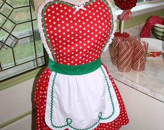 Christmas apron Red green Polka Dot full apron holiday hostess Santas helper apron or elf costume