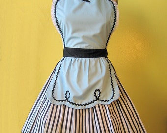 retro apron blue 50s DINER WAITRESS ... ice cream parlor fifties hostess or bridal shower gift vintage inspired womens flirty full aprons