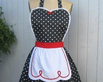 retro apron LUCY .... retro red black polka dot full apron fifties sexy hostess gift vintage inspired flirty womens apron