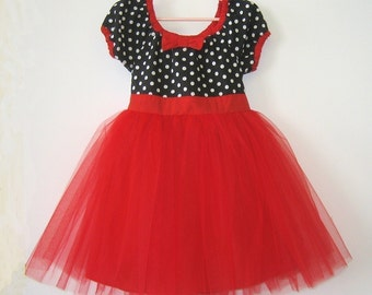TUTU DRESS black polka dot red skirt baby girls  holiday birthday party dress portrait flower girl special occasion
