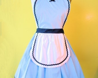 ALICE in WONDERLAND apron, sexy apron,  hostess apron, bridal shower gift, womens apron, flirty apron, Alice in Wonderland costume
