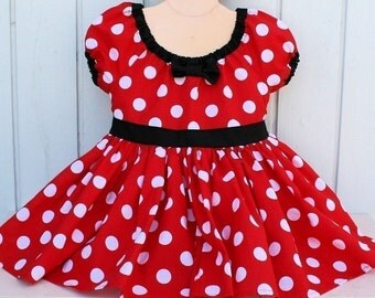 MINNIE Mouse Dress, red Polka Dots dress,  Minnie Mouse costume, 1st Birthday baby outfit for girl, first birthday dress, SALE