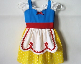 SNOW WHITE dress retro  APRON dress for toddlers baby and girls fun for special occasion or tea party handmade  costume