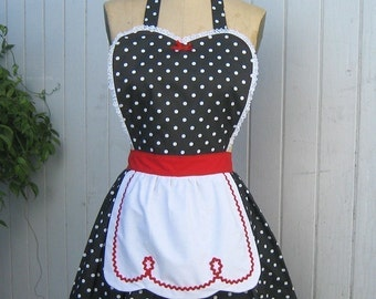 apron LUCY ...... retro apron in black polka dots with red womens full apron flirty hostess gift vintage inspired